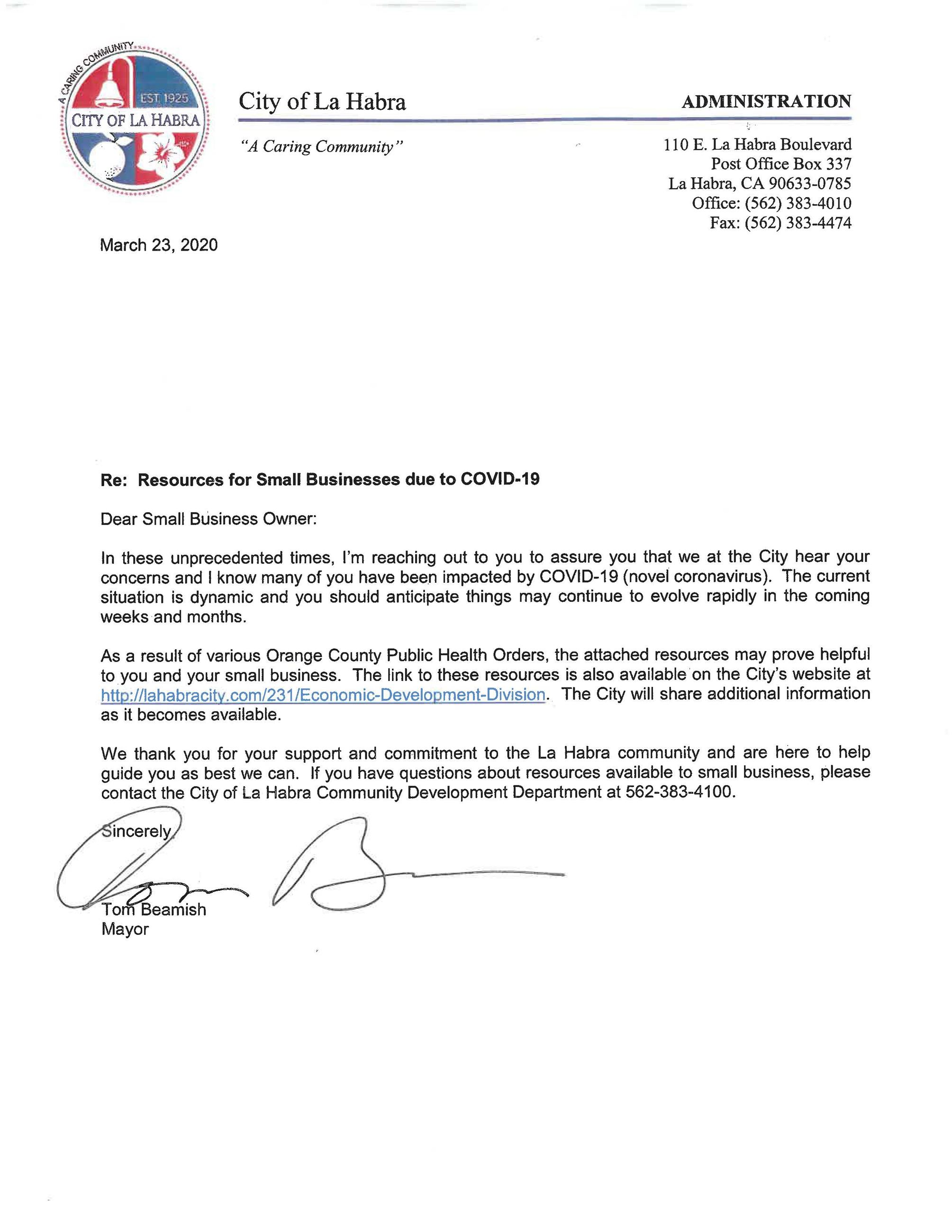 Letter from Mayor Beamish PDF