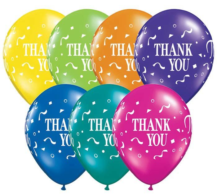 "Balloons that say ""thank you"""